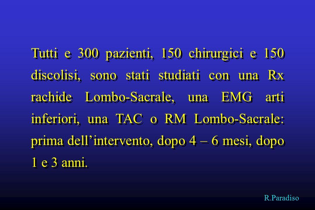 Tutti e 300 pazienti, 150 chirurgici e 150 discolisi, sono stati studiati con una Rx rachide Lombo-Sacrale, una EMG arti inferiori, una TAC o RM Lombo-Sacrale: prima dell'intervento, dopo 4 – 6 mesi, dopo 1 e 3 anni.
