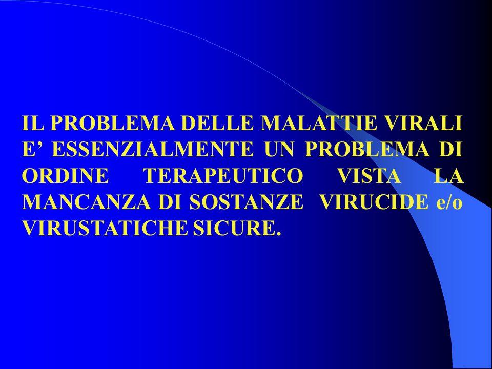 IL PROBLEMA DELLE MALATTIE VIRALI E' ESSENZIALMENTE UN PROBLEMA DI ORDINE TERAPEUTICO VISTA LA MANCANZA DI SOSTANZE VIRUCIDE e/o VIRUSTATICHE SICURE.