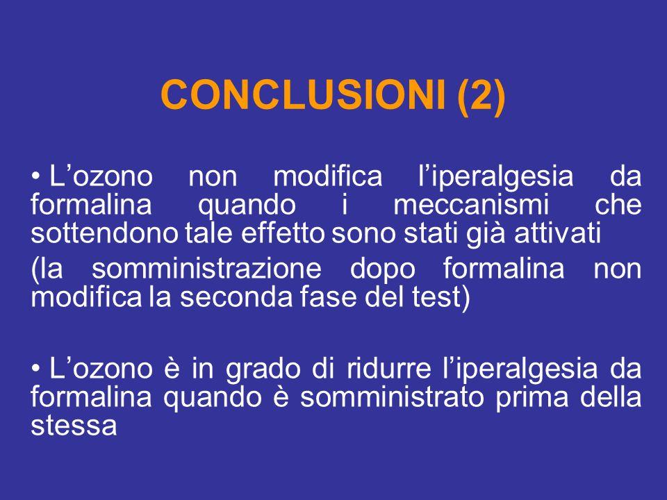 CONCLUSIONI (2) L'ozono non modifica l'iperalgesia da formalina quando i meccanismi che sottendono tale effetto sono stati già attivati.
