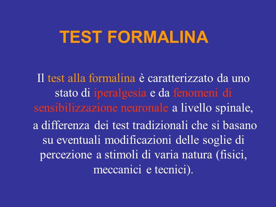 TEST FORMALINA Il test alla formalina è caratterizzato da uno stato di iperalgesia e da fenomeni di sensibilizzazione neuronale a livello spinale,