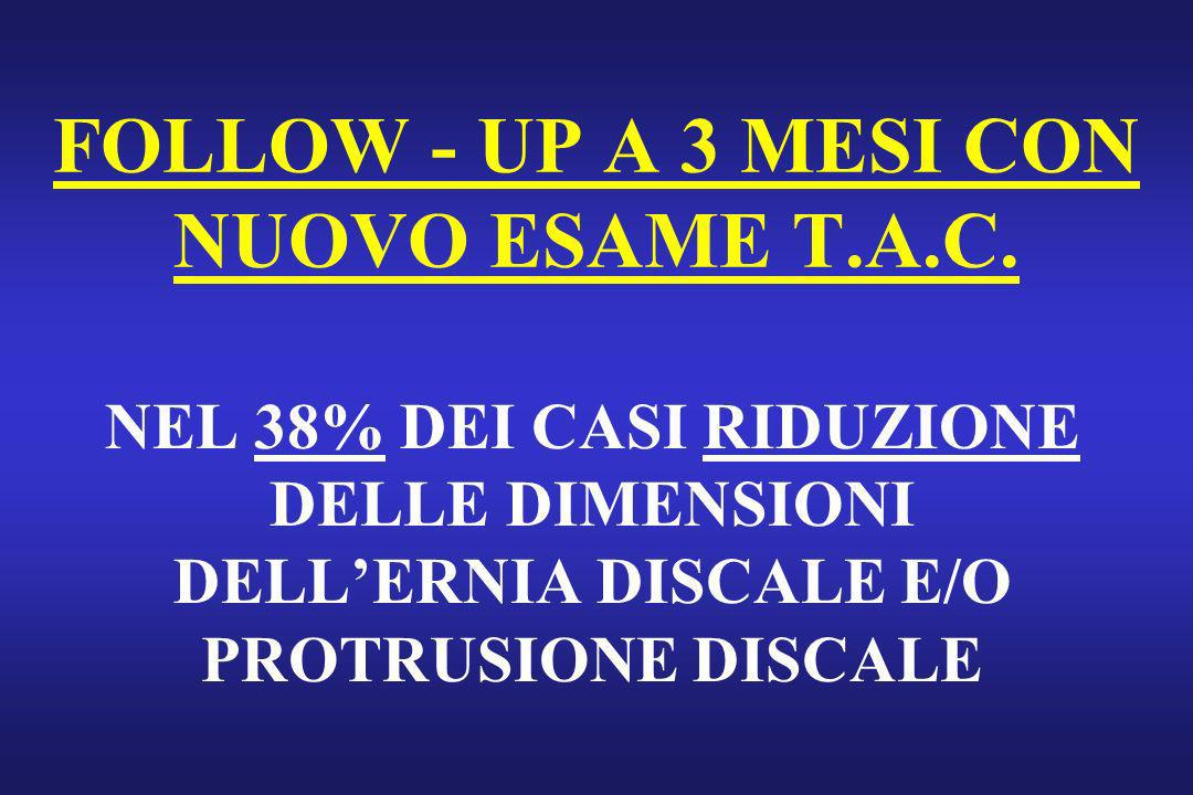 FOLLOW - UP A 3 MESI CON NUOVO ESAME T.A.C.