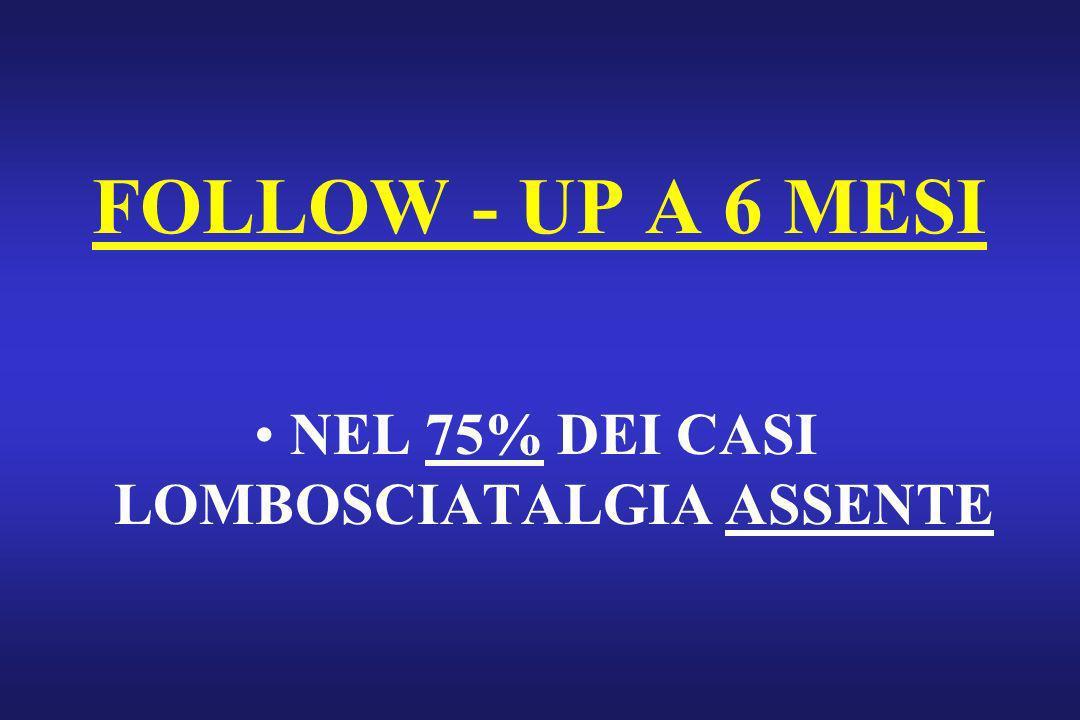 NEL 75% DEI CASI LOMBOSCIATALGIA ASSENTE