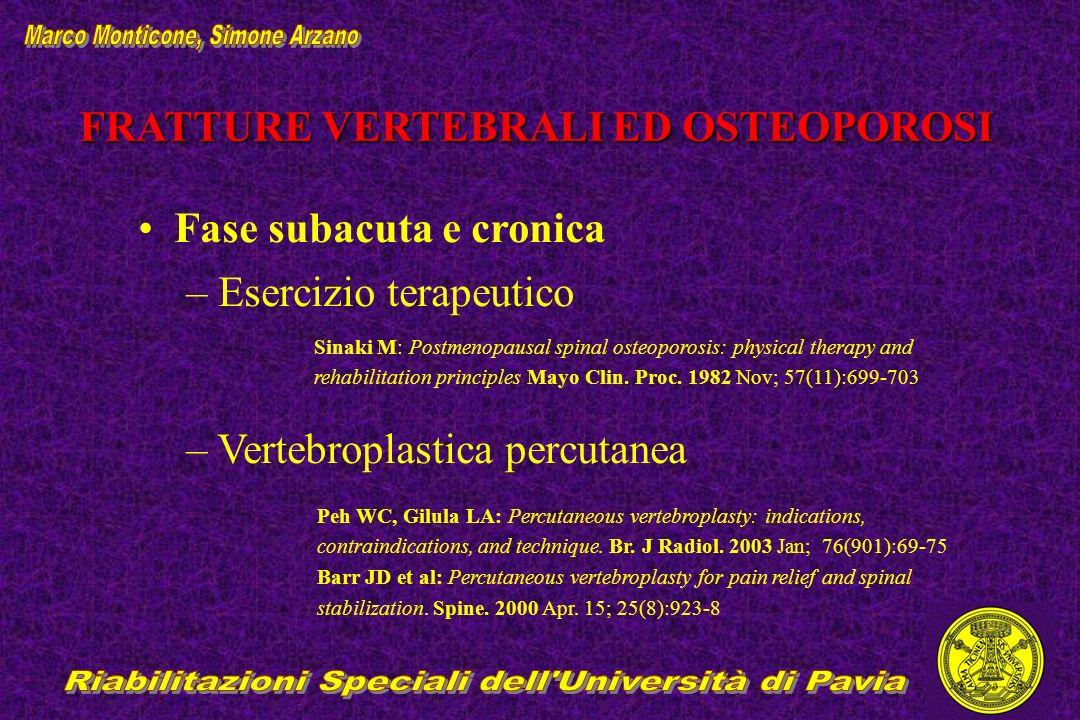 FRATTURE VERTEBRALI ED OSTEOPOROSI