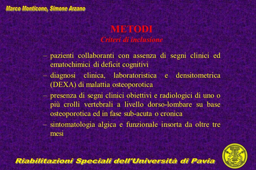 METODI Criteri di inclusione