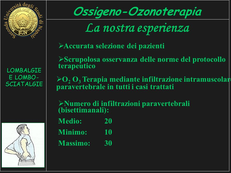 Ossigeno-Ozonoterapia LOMBALGIE E LOMBO-SCIATALGIE