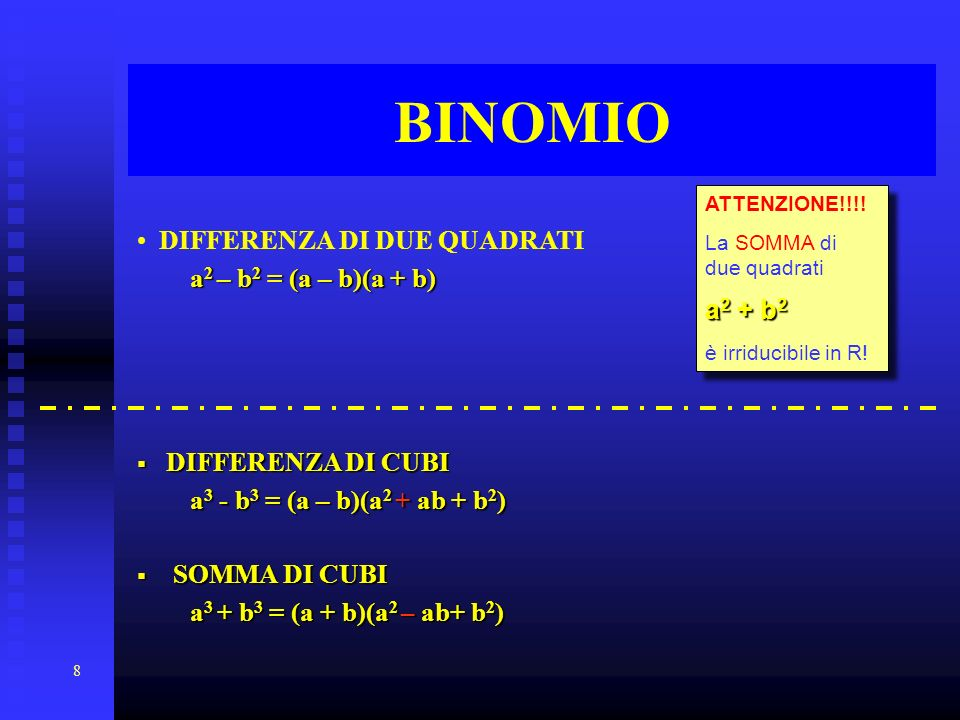 BINOMIO DIFFERENZA DI DUE QUADRATI a2 + b2 a2 – b2 = (a – b)(a + b)