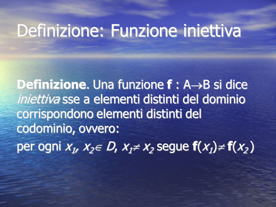 Definizione: Funzione iniettiva