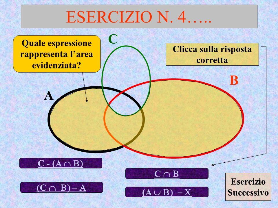 ESERCIZIO N. 4….. C. Quale espressione rappresenta l'area evidenziata Clicca sulla risposta corretta.