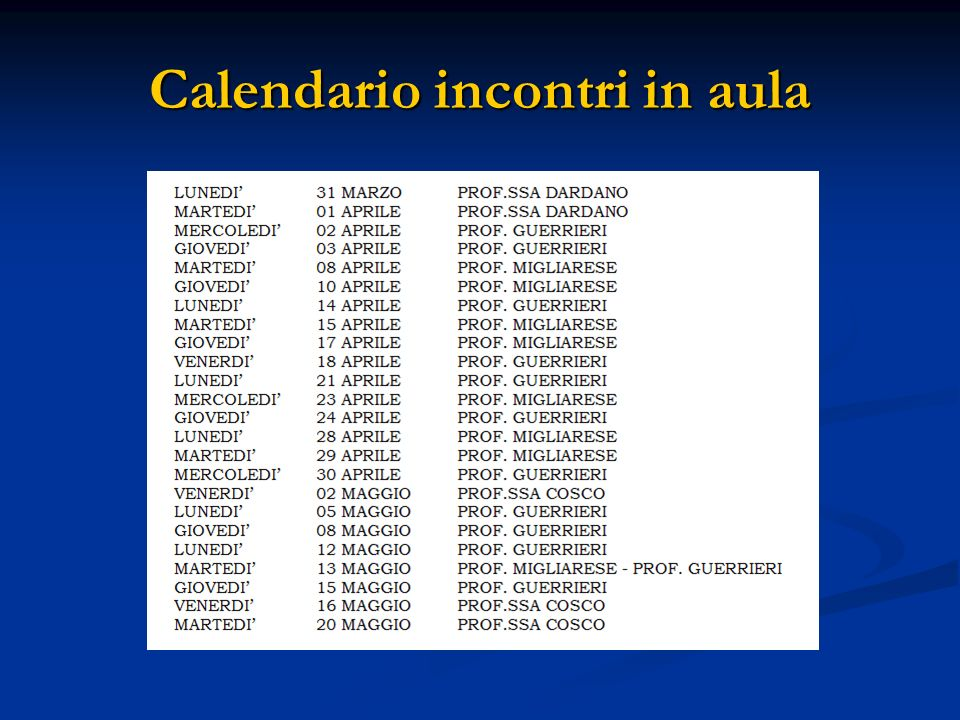 Calendario incontri in aula
