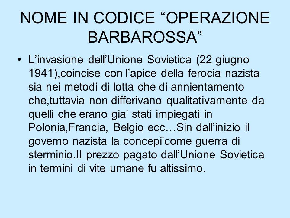 NOME IN CODICE OPERAZIONE BARBAROSSA