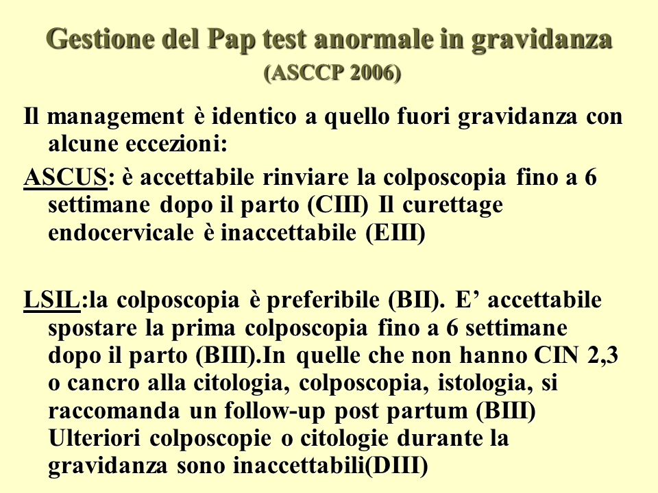 Gestione del Pap test anormale in gravidanza (ASCCP 2006)