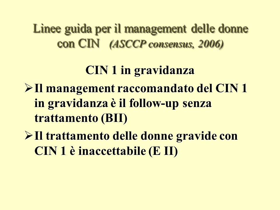 Linee guida per il management delle donne con CIN (ASCCP consensus, 2006)