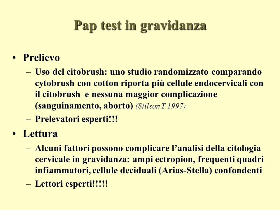 Pap test in gravidanza Prelievo Lettura