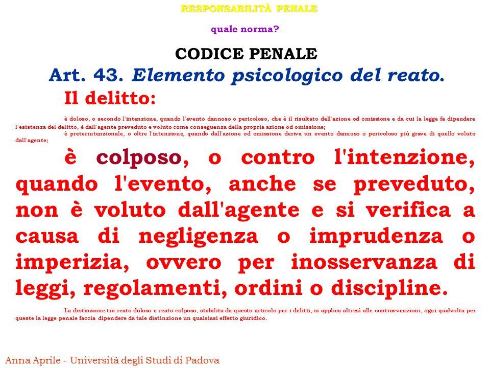 RESPONSABILITÀ PENALE Art. 43. Elemento psicologico del reato.