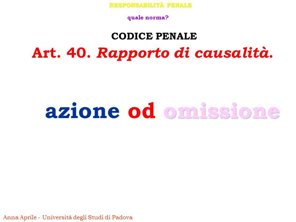 RESPONSABILITÀ PENALE Art. 40. Rapporto di causalità.