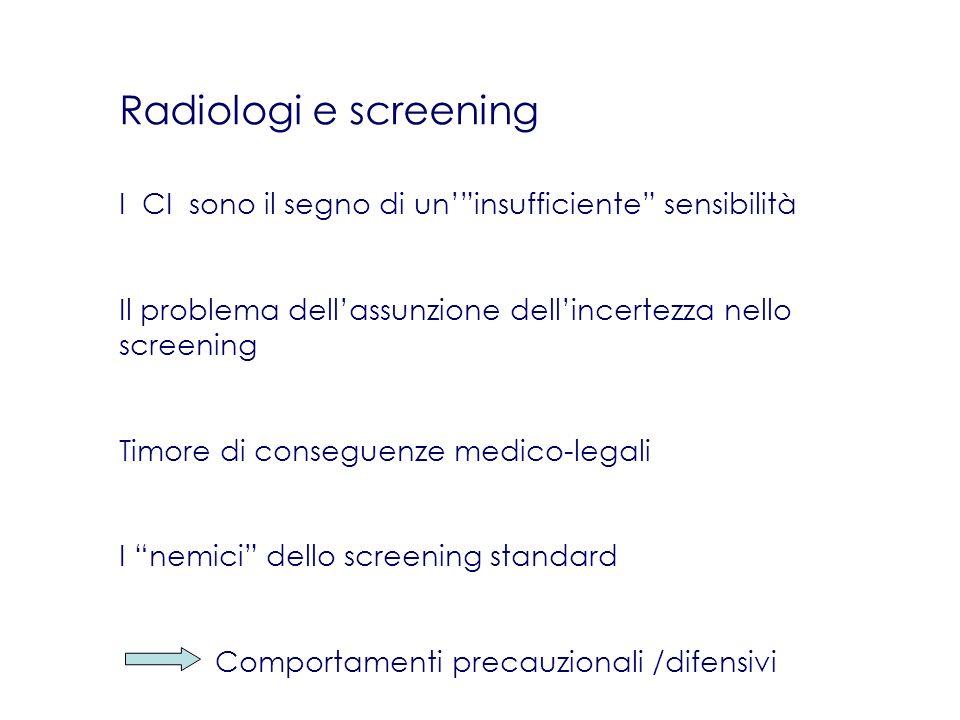 Radiologi e screening I CI sono il segno di un' insufficiente sensibilità. Il problema dell'assunzione dell'incertezza nello screening.