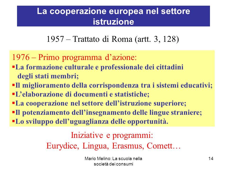 La cooperazione europea nel settore istruzione