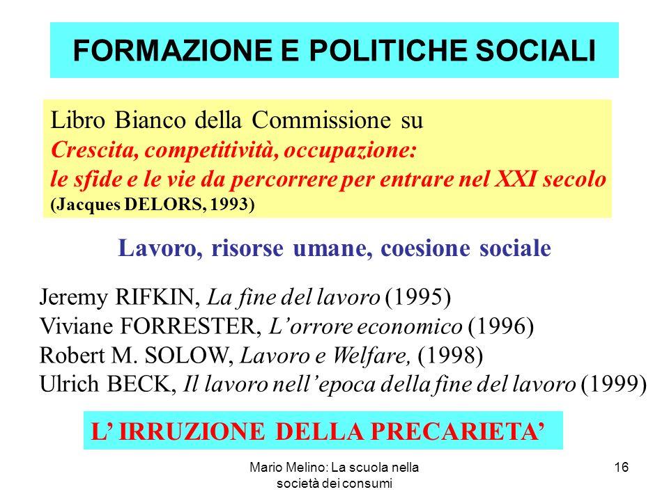FORMAZIONE E POLITICHE SOCIALI