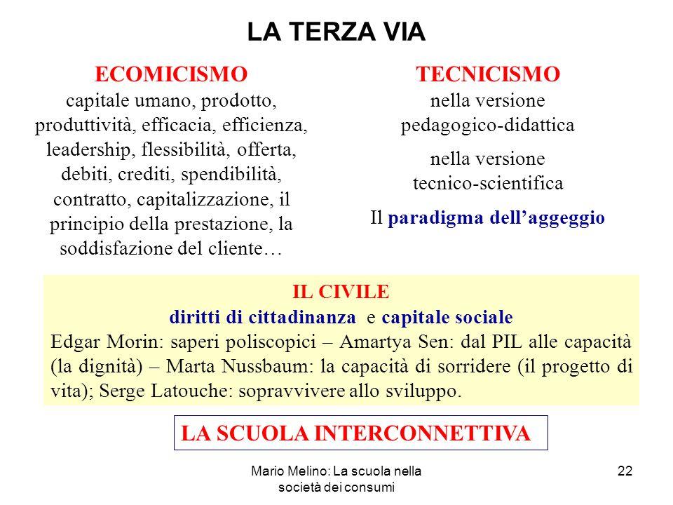 LA TERZA VIA ECOMICISMO TECNICISMO LA SCUOLA INTERCONNETTIVA