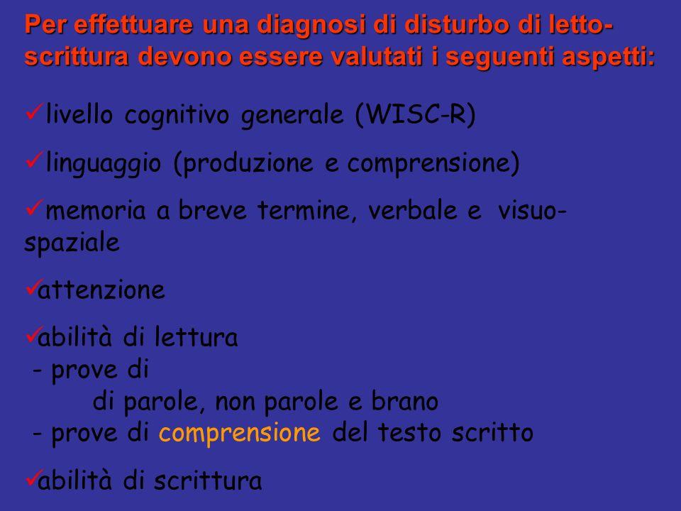 Per effettuare una diagnosi di disturbo di letto-scrittura devono essere valutati i seguenti aspetti: