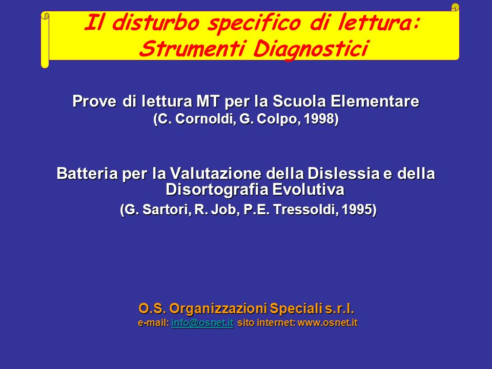 Il disturbo specifico di lettura: Strumenti Diagnostici