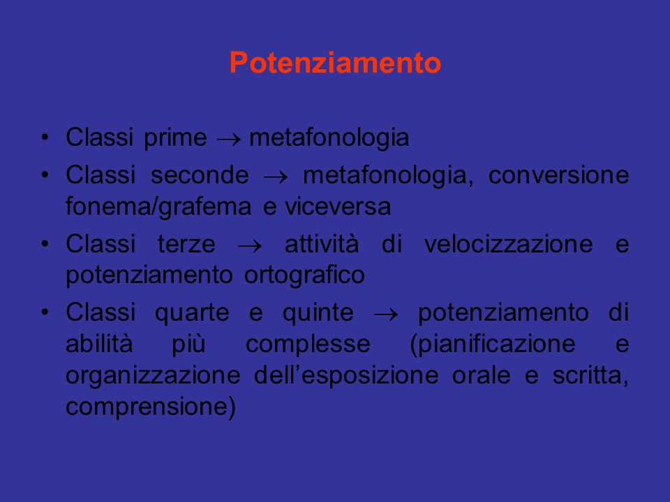 Potenziamento Classi prime  metafonologia
