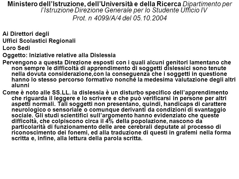 Ministero dell'Istruzione, dell'Università e della Ricerca Dipartimento per l'Istruzione Direzione Generale per lo Studente Ufficio IV