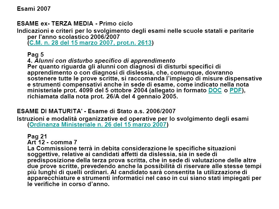 Esami 2007 ESAME ex- TERZA MEDIA - Primo ciclo.