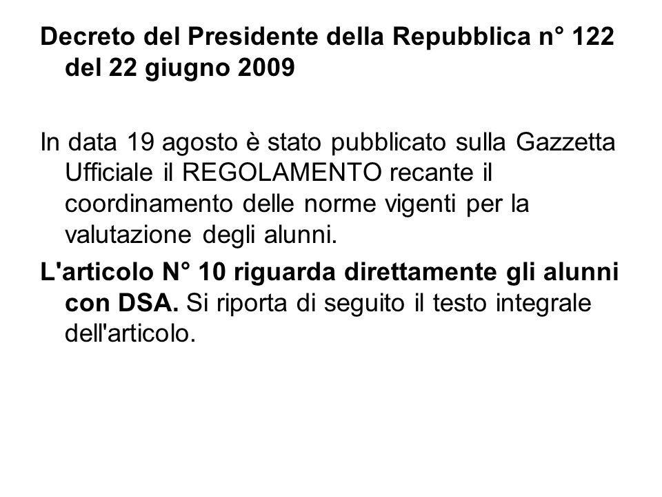 Decreto del Presidente della Repubblica n° 122 del 22 giugno 2009