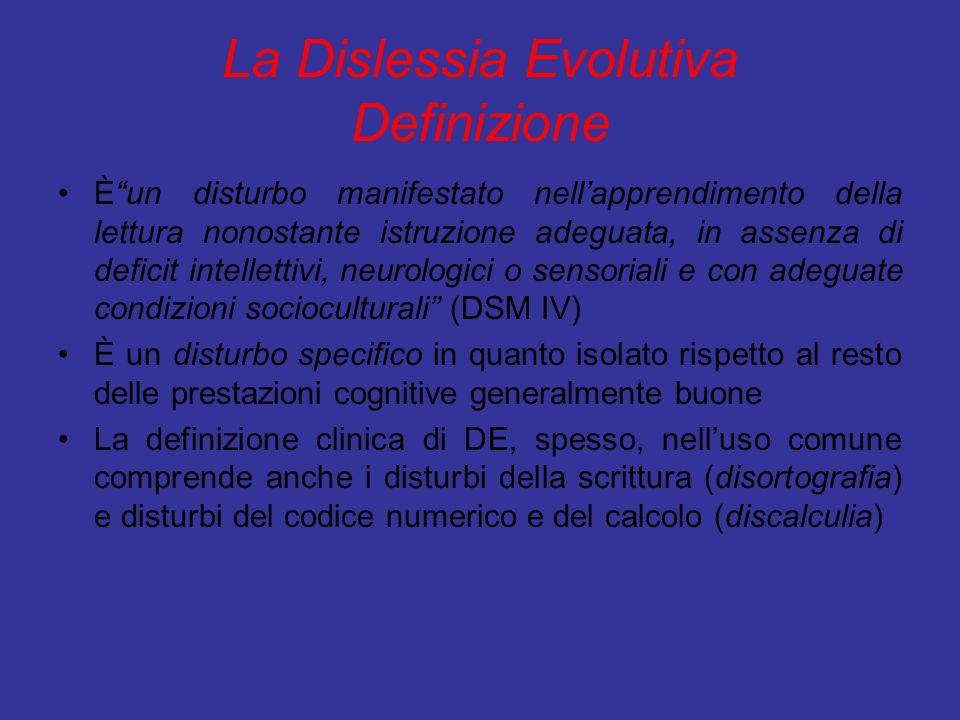 La Dislessia Evolutiva Definizione