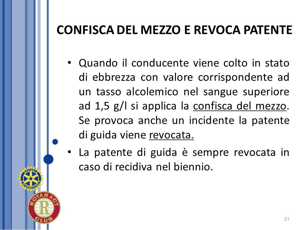 CONFISCA DEL MEZZO E REVOCA PATENTE