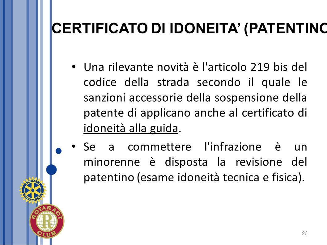 CERTIFICATO DI IDONEITA' (PATENTINO)