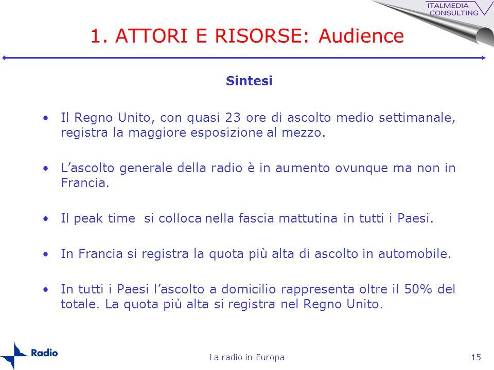 1. ATTORI E RISORSE: Audience