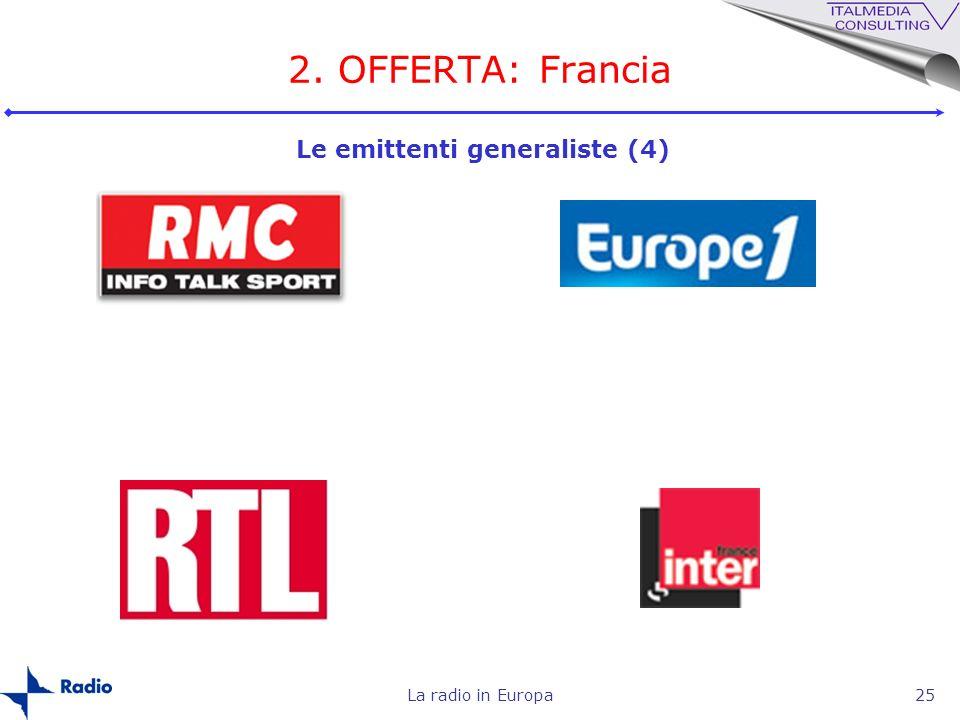 2. OFFERTA: Francia Le emittenti generaliste (4) La radio in Europa
