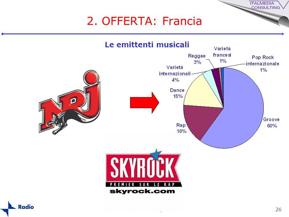 2. OFFERTA: Francia Le emittenti musicali La radio in Europa