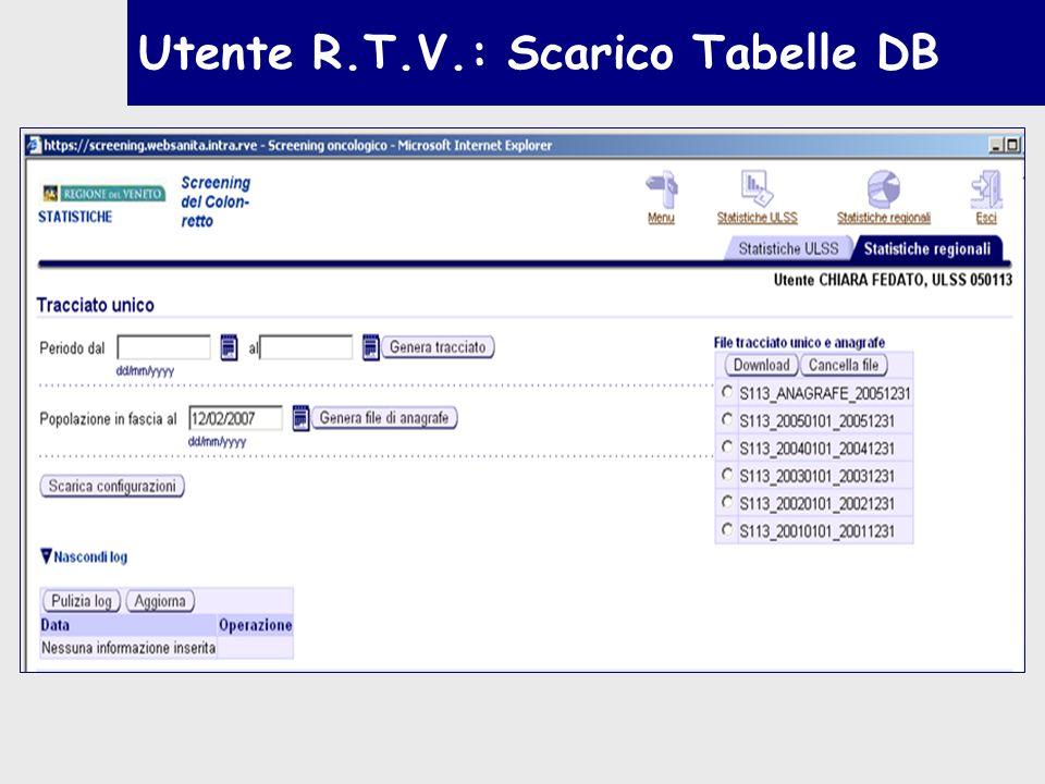 Utente R.T.V.: Scarico Tabelle DB