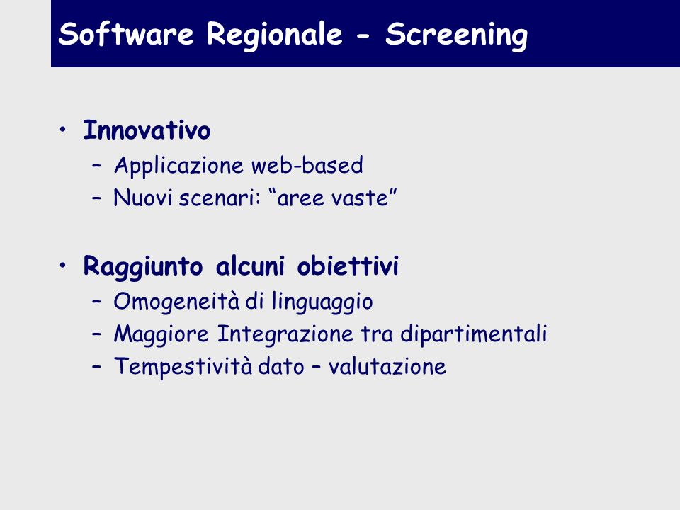 Software Regionale - Screening