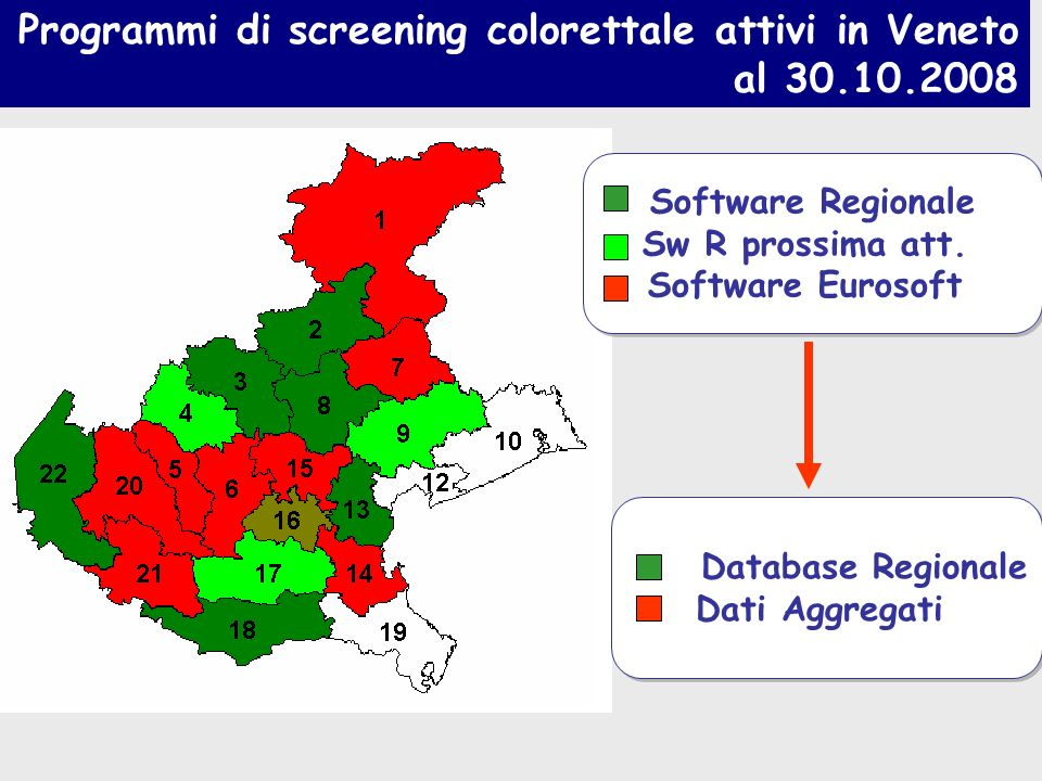 Programmi di screening colorettale attivi in Veneto al 30.10.2008