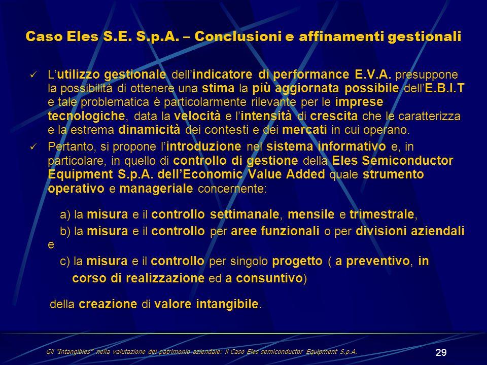 Caso Eles S.E. S.p.A. – Conclusioni e affinamenti gestionali