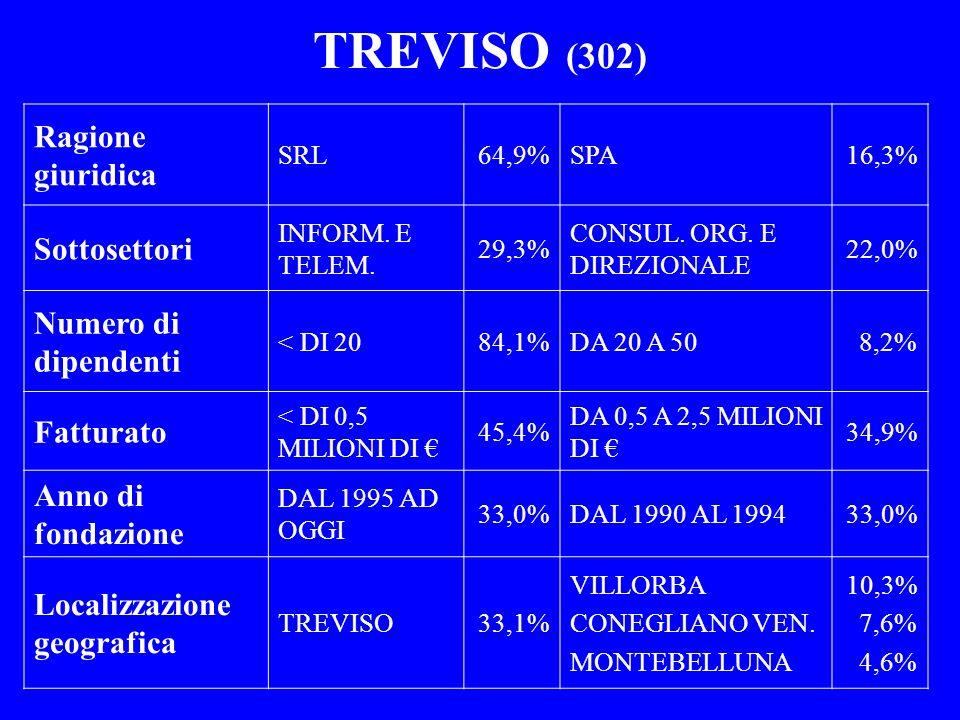 TREVISO (302) Ragione giuridica Sottosettori Numero di dipendenti