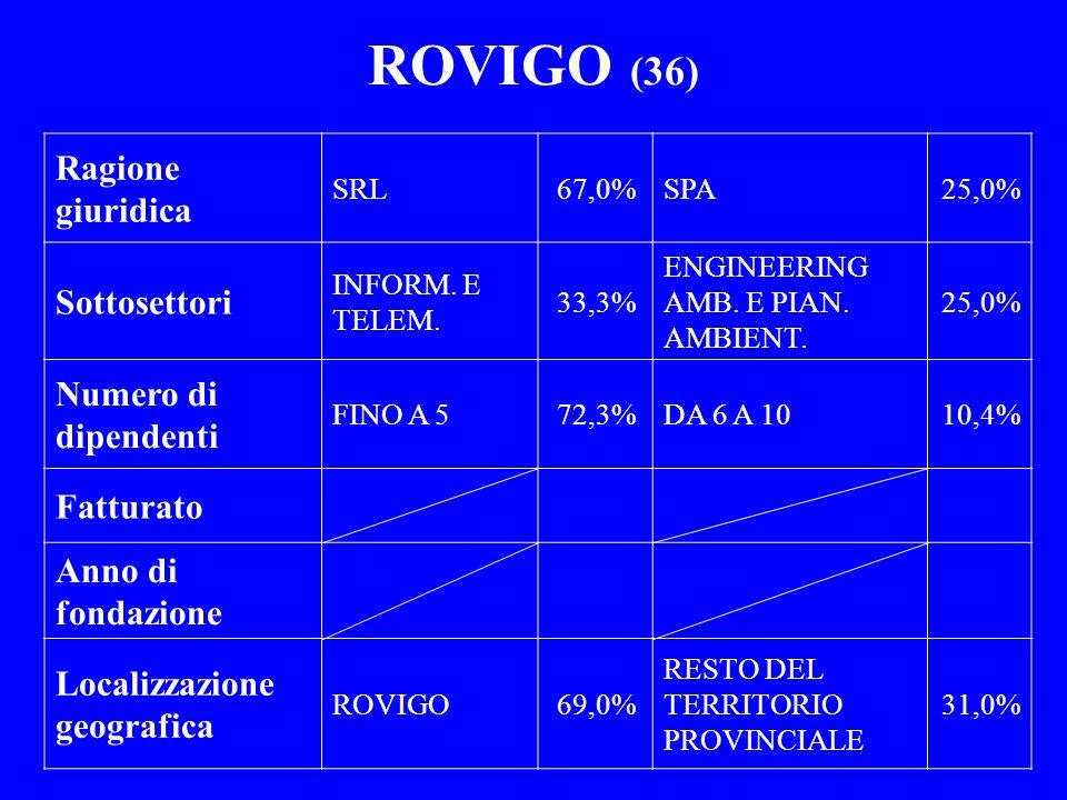 ROVIGO (36) Ragione giuridica Sottosettori Numero di dipendenti