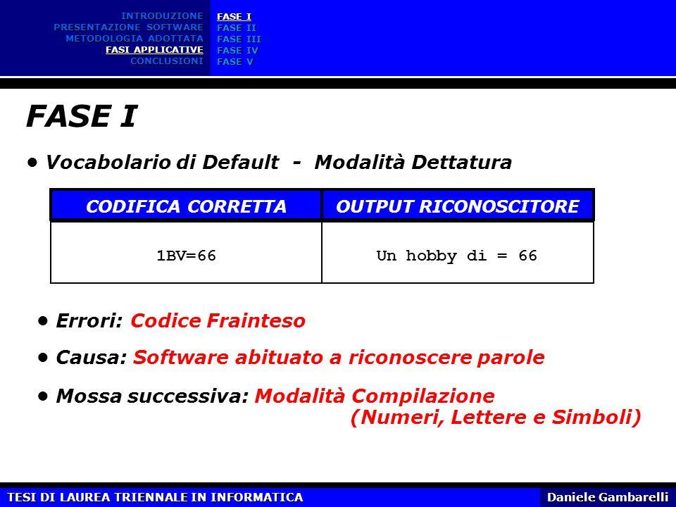 FASE I • Vocabolario di Default - Modalità Dettatura