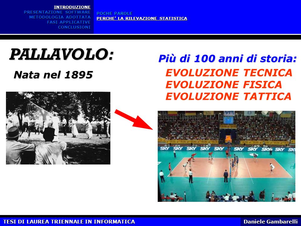 PALLAVOLO: Più di 100 anni di storia: EVOLUZIONE TECNICA Nata nel 1895