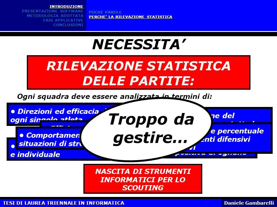 Troppo da gestire… NECESSITA' RILEVAZIONE STATISTICA DELLE PARTITE: