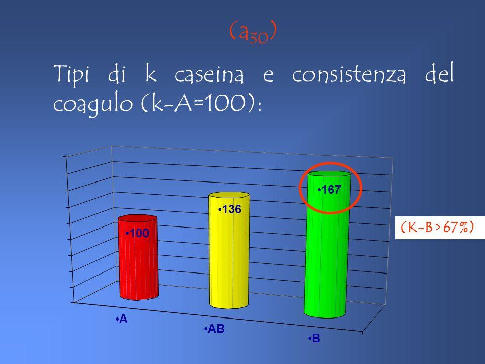 Tipi di k caseina e consistenza del coagulo (k-A=100):