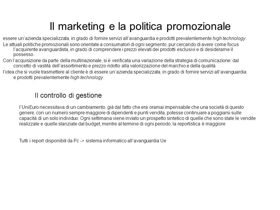 Il marketing e la politica promozionale