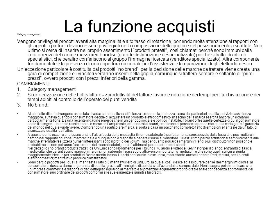 La funzione acquisti Category management.