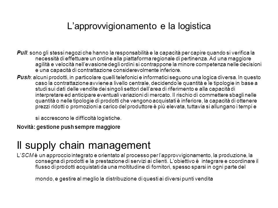 L'approvvigionamento e la logistica