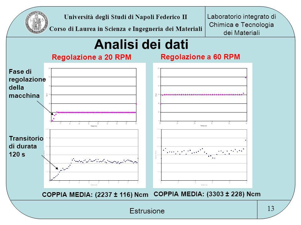 Analisi dei dati Regolazione a 20 RPM Regolazione a 60 RPM 13