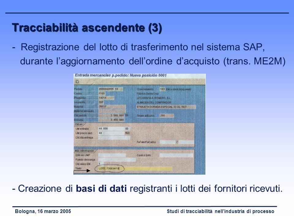 Tracciabilità ascendente (3)